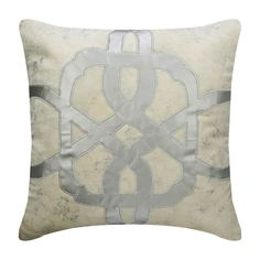 "Decorative Velvet Foil Cushion 16""x 16"", Toss Throw Pillow Ivory & Silver Throw Pillow Cover Applique Modern Home Decor Pillow-Greek Electra"
