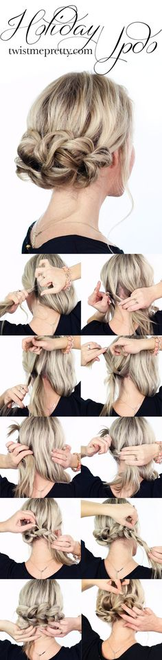 Undoubtedly the easiest and most gorgeous updo, perfect for the holiday season. Come watch the easy to follow video tutorial at twistmepretty.com
