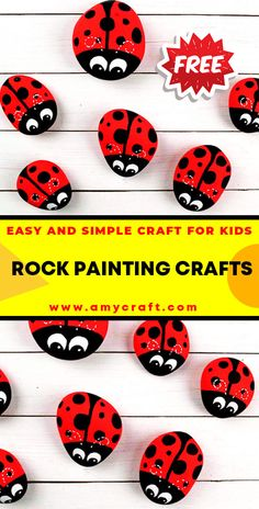 Lady Bug Rock Art - Easy Popsicle Crafts for Kids. Click to Find the Tutorial Here! #DIY #Popsicle #Craft Creative Arts And Crafts, Easy Crafts For Kids, Creative Kids, Popsicle Crafts, Rock Painting Ideas Easy, Kid Rock, Lady Bug, Stone Painting, Rock Art