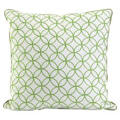 Cotton pillow with piped edges and a geometric motif in green.
