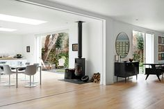 Like this wood burner and the simple thin piece it stands on