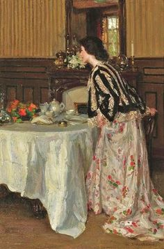 Henry Salem Hubbell (American artist, 1870-1949) Tea Time.  Reminds me of Childe Hassam.