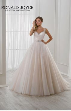Louise (Style 18109), Victoria Jane by Ronald Joyce. Tulle A-line gown with beaded straps, beaded sweetheart neckline and beaded waistband. #wedding #dress