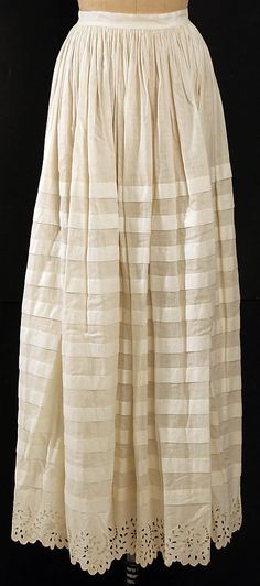 Cotton with tucks and embroidery; American, 1850's. The Met, accession nr. C.I.51.11.1