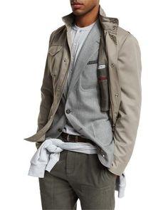 M1X41 Brunello Cucinelli Brushed Nylon Field Jacket, Taupe