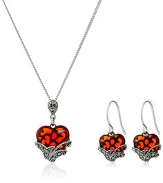 Amazon.com: Sterling Silver Marcasite Red Glass Heart Earrings and Curb Chain Pendant Necklace Jewelry Set: Jewelry