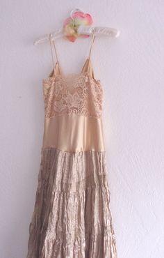 Sexy Romantic Gypsy, Funky Dress/ Tattered Eco Friendly Prom Dress/ Mori Girls Boho Upcycled. $65.00, via Etsy.