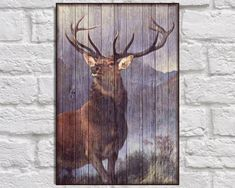 Stag print Rustic home decor Wood wall art Monarch of the Glen Stag painting Reproduction fine art print gifts for Men Panel effect wood art by Woodprintz