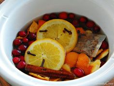 crockpot potpourri: Boil cinnamon sticks, apple peels, orange rinds, whole cloves, cranberries, and other delicious-smelling ingredients in water.