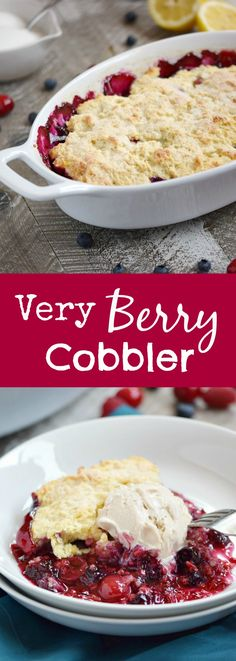 Celebrate the flavors of summer with a delicious Very Berry Cobbler topped with a big scoop of vanilla ice cream   cookingwithcurls.com