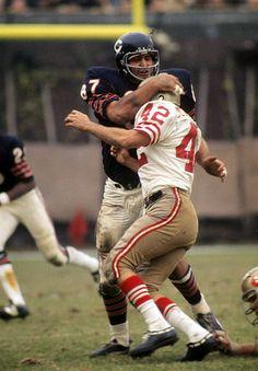 Ed O'Bradovich Chicago Bears Linebacker yanks down 49ers running back Doug Cunningham during their week 8 matchup.  49ers thumped the Bears 37-16.