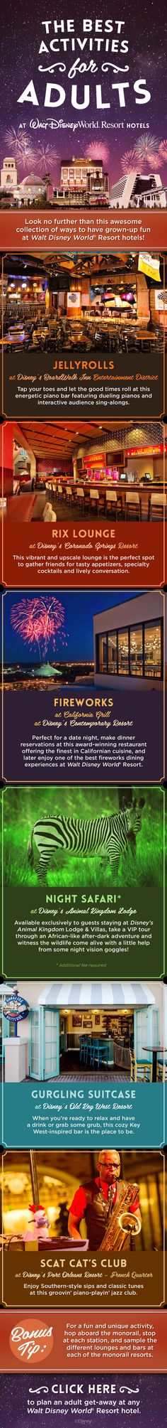 Grown-ups will have just as much fun as kids with these Walt Disney World Resort Activities for Adults! Enjoy fireworks, lounges, music, and even a safari during your family vacation!