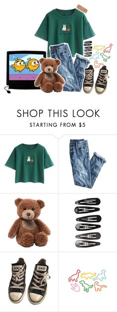 """""""Bigmouth Strikes Again - The Smiths"""" by nxive ❤ liked on Polyvore featuring GAS Jeans, Chicnova Fashion, J.Crew, Gund, Clips, Converse and Dinosaurs"""