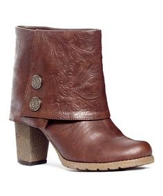 Look at this Chocolate Brown Chris Embossed Chunky Boot on #zulily today!