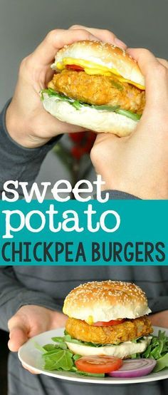 Homemade Sweet Potato Chickpea Veggie Burgers -- double the batch! These are so good and freezer friendly too!: