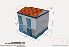 Casa Maritima Azul - Model No 1401 - Maqueta de papel inspirada en un edificio del casco viejo de Orense, en Galicia (España)