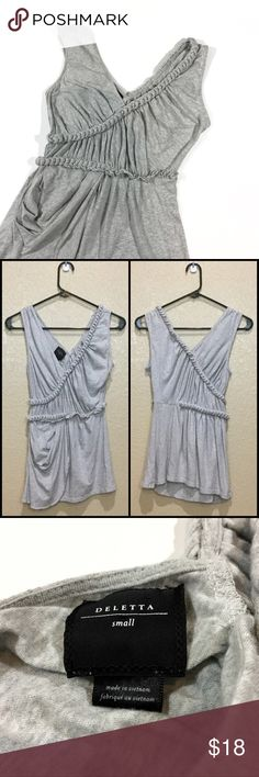 "Anthropologie Deletta Braided Laced Lariat Tank Cut from a heather gray jersey this draped tank by Deletta features braided detailing that reads 21st century Greek Goddess. Size Small. Very good used condition, only flaw is Dark marks at mid back mostly concealed by draping when worn, see photos 4 & 5. Please note that stitching of tag is slightly visible through back, see photo 6. 60% Cotton, 40% Modal. Length: Approx 26.5"". Open to offers. Anthropologie Tops Blouses"