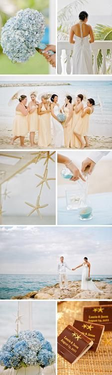 yellow + blue tropical beach wedding