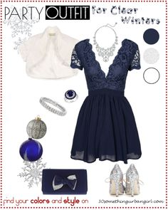 pretty Holiday party outfit idea for Clear Winters