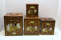 Vintage Nesting Wood Canister Set with Roosters by PanchosPorch, $22.50