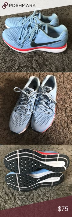 Nike Zoom - Mens sneaker US 10.5 Light blue Nike zoom running sneakers. EUC used only a handful of times. Nike check and detail at back are reflective. Tiny bit of piling at interior heel as pictured. Nike Shoes Sneakers