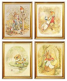 The Tale of Peter Rabbit Beatrix Potter the Original and Authorized Edition Golden Framed Four Set Kids Room Wall Decor Art Print Poster Framed Wall Art, Wall Art Decor, Kids Room Art, Peter Rabbit, Beatrix Potter, Print Poster, Vintage World Maps, Posters, Art Prints