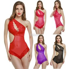 734d492404 Women Sexy Lingerie Lace Mesh Chemise See Through Babydoll Bodysuit B5UT   fashion  clothing