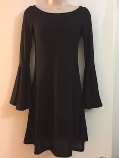 NWT Little Black Dress Long Sleeve Bell Sleeves Fit And Flare Size Medium  | eBay