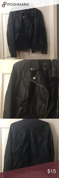No space in my closet!! Faux leather jacket  New- Only been wore once  Light material  Silver zippers/ buttons  Two zippered pockets Forever 21 Jackets & Coats