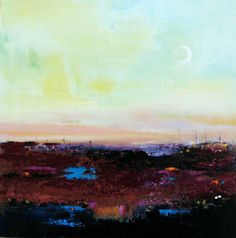 New Moon Landscape Painting Abstract Painting by bellablackbird