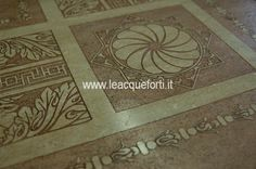 PAESTUM carpet on marble travertino decorated by AKROS. Tiles marble. Original design.
