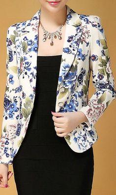 Stylish Lapel Neck Floral Print Slimming Long Sleeve Women's Blazer
