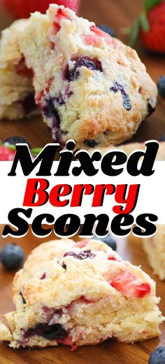 Breakfast brunch and even teatime will be that much better when you serve these Mixed Berry Scones Made with blueberries and strawberries these Mixed Berry Scones are not only delicious they re beautiful to look at as well and will be made again and again Best Breakfast Recipes, Savory Breakfast, Brunch Recipes, Breakfast Ideas, Fruit Recipes, Baking Recipes, Dessert Recipes, Mixed Berry Scones Recipe, Mixed Berry Muffins