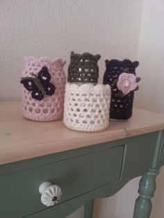 Jars with crochet covers