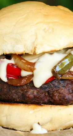 Cheesy Philly Cheesesteak Burgers