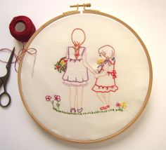 Embroidery Pattern  PDF  Sisters by Micush on Etsy, $5.00