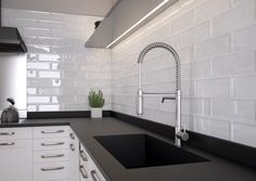 Our stunning Soho range is finished in a lustre glaze, allowing light to reflect adding an air of opulence to any room. Ideal for both Kitchens & Bathrooms! Kitchen Wall Tiles, Ceramic Wall Tiles, Kitchen Backsplash, Contemporary Tile, Cuisines Design, Beautiful Kitchens, Kitchen Remodel, Sweet Home, House Styles