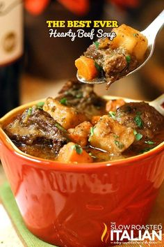 This is the BEST EVER Hearty Beef Soup!  With juicy tender chucks of beef that melt in your mouth and a glorious rich soup loaded with vegetables it is truly the ultimate comfort food. This simple recipe has minimal active time and it is sure to be on you