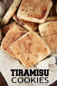 Easy Tiramisu Cookies a fun twist on the Italian dessert with espresso, rum, mascarpone cheese, and cocoa powder! Italian Cookie Recipes, Italian Cookies, Italian Desserts, Easy Cookie Recipes, Italian Christmas Cookies, Delicious Cookie Recipes, Tiramisu Cookies, Tiramisu Cake, Crinkle Cookies