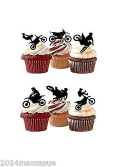 24 Precut Motocross Motor Bike Stand Up Silhouette Cupcake Wafer Card Toppers Motocross Birthday Party, Motorcycle Birthday Parties, Dirt Bike Birthday, Birthday Fun, Motorcycle Party, Motorcross Cake, Bolo Motocross, Motorbike Cake, Dirt Bike Wedding