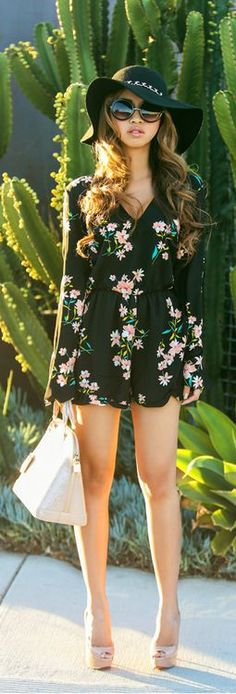 Beautiful floral romper fashion