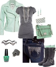 """Mint and Grey"" by crzrdnk77 on Polyvore"