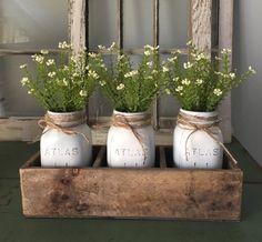 Rustic wood boxplanter box atlas mason jars centerpiece