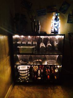 Lighted DIY Wine Bar with DIY wine bottle lamps