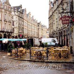 | ♕ | Market cafe in rain - Arras, France | by © Peter Gutierrez