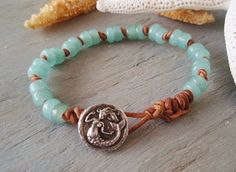 Mermaid bracelet - SeaDrops - sea blue green glass knotted leather surfer beach boho summer water inspired rustic eco chic nautical boho