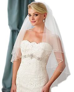 Passat Two Tiers priceless vintage Wedding veil With Bling Sequin Beads H14 Review