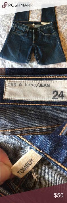 "Rag & Bone Denim cropped ""tomboy"" fit rag & bone Jeans"