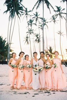 Beach bridesmaids in soft peach colored dressed on the beach in Punta Cana, Mexico - photo by Asia Pimentel Photography Beach Wedding Bridesmaids, Beach Bridesmaid Dresses, Beach Wedding Colors, Beach Wedding Reception, Beach Wedding Photos, Barbados Wedding, Wedding Pictures, Florida Keys Wedding, Punta Cana Wedding