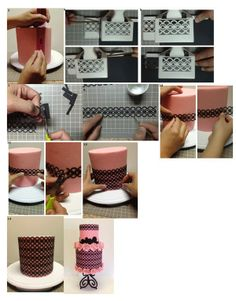 Pink and black cake tutorial. It is created by http://www.facebook.com/CoutureCakesbyRose.